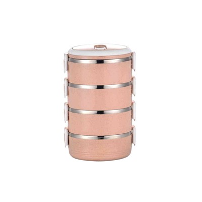 四层保温便当盒  粉红色
