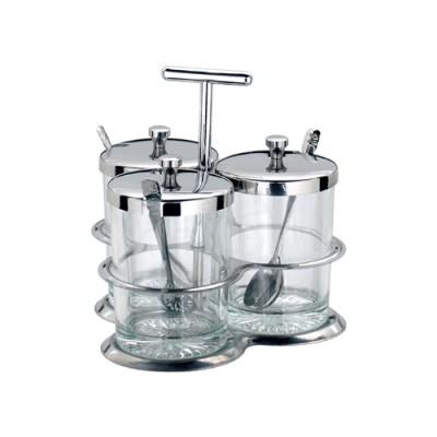 瑞诚不锈钢调料瓶玻璃调味盒胡椒瓶液体调料罐餐桌厨房三件套