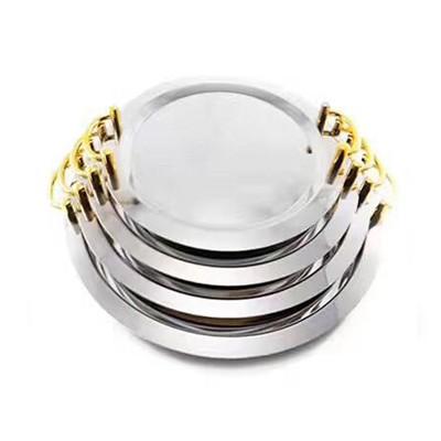 不锈钢加厚圆形镜盘金、银、无耳(16/18/20/22寸)