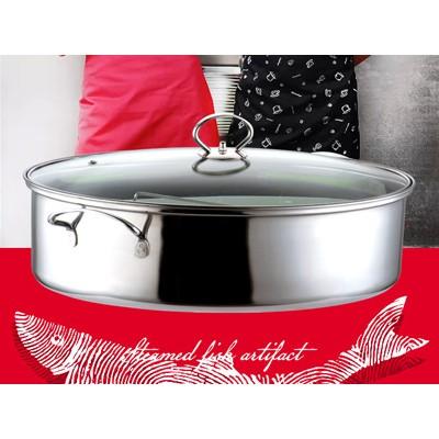 不锈钢加厚椭圆形蒸鱼锅多功能汤蒸锅厨房多用炊具多功能炊具