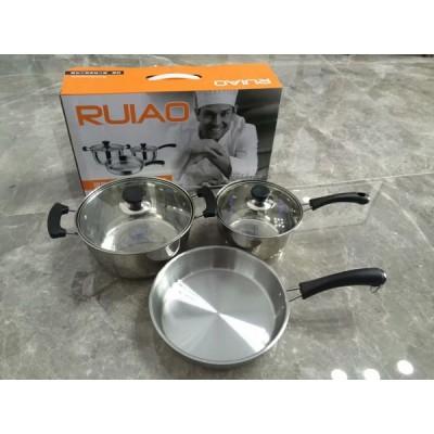 04厚三件套锅 18奶锅、22汤锅、24煎锅
