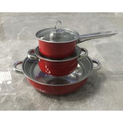 不锈钢带磁喷漆三件套汤锅、奶锅