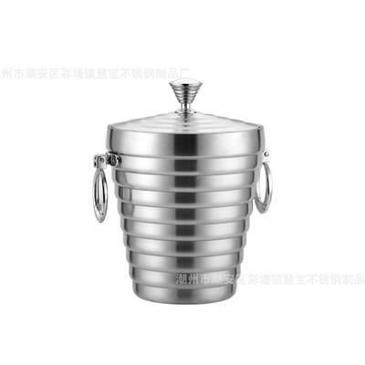 不锈钢双层提式冰桶(双耳银钻)