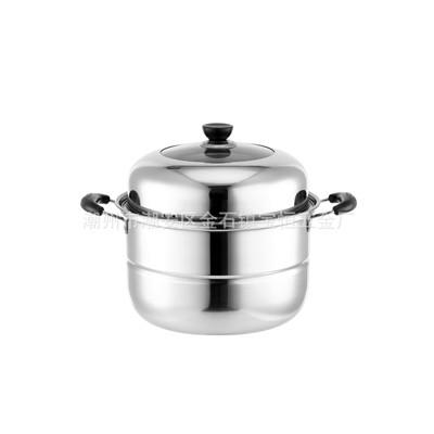 厂销不锈钢加厚复底蒸锅三层双层蒸锅单篦双篦蒸锅蒸煮多用礼品锅