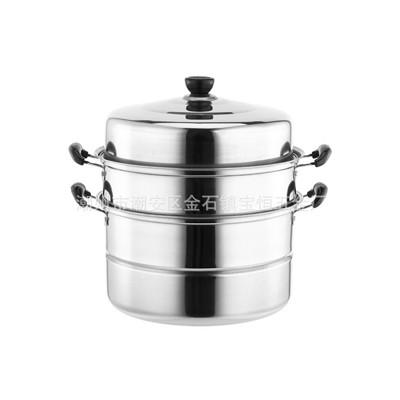 加厚不锈钢蒸锅单篦双篦双层三层蒸锅二层汤蒸锅电磁炉复底 礼品