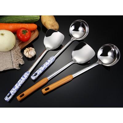 不锈钢烹饪铲勺套装创意家用厨房隔热防烫木纹手柄锅铲勺