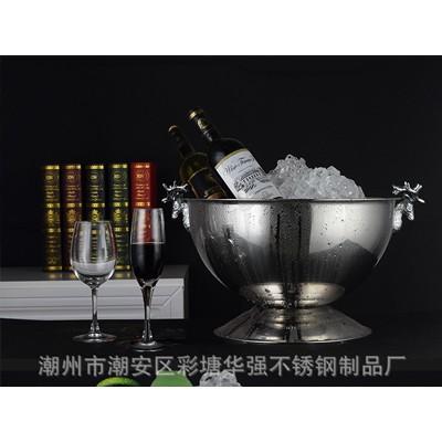 厂家直销不锈钢沙律盆 超大冰酒桶冰酒盆 轻奢鹿耳高低座沙律盆