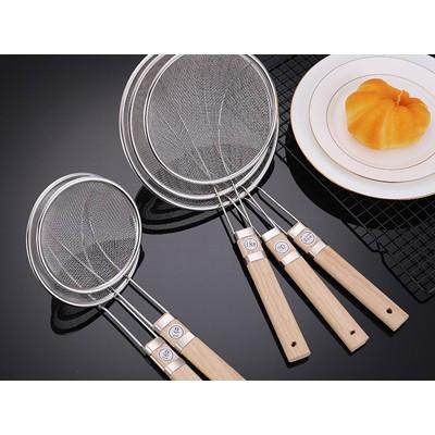 不锈钢大号漏勺木柄双耳油炸捞勺 家用厨具捞面网漏过滤网