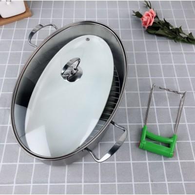 【蒸鱼神器】304不锈钢椭圆形蒸锅