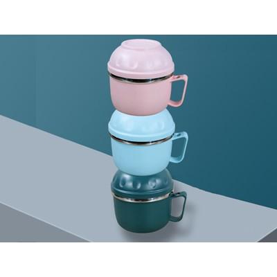 塑钢快餐杯 粉色/蓝色/深青色